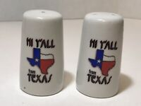 "Vintage Texas Salt and Pepper Shakers ""Hi Y'all from Texas"" State Souvenir"