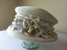 MON CHERI MOTHER OF THE BRIDE IVORY  ORGANZA WEDDING CHURCH HAT CLASSIC RACES
