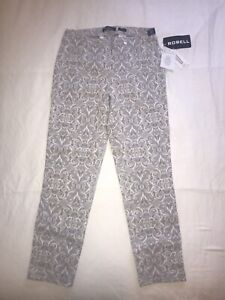Laundry B Fitted Trousers - Grey White Baroque Print - Size 10 - RRP £69 BNWT