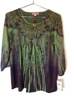 New One World Womens Plus Size Long Sleeve Embellished Knit Top Blouse Green $44