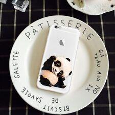 Clear Panda Pattern TPU Thin Phone Case Cover for iPhone 7 Samsung Huawei LG