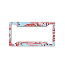 Pink Flamingo Birds Pattern Auto Car License Plate Frame Tag Holder 4 Hole