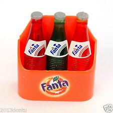 Fridge Magnet Fanta Soda Miniature 3 Bottles in Case Dollhouse Collectibles