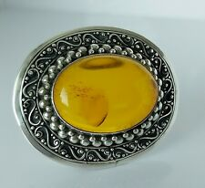 Beautiful Large Chunky Sterling Silver & Baltic Amber Pendant Pin Brooch 19.9g