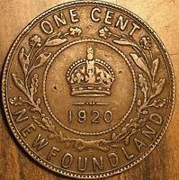 1920 NEWFOUNDLAND CENT LARGE 1 CENT PENNY