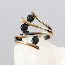 Handmade Minimalistic Style Bronze Black Onyx Handcrafted Ring Size Adjustable