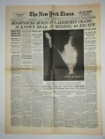 N859 La Une Du Journal The New York times 7 may 1937 Hindenburg Burns