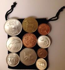 Bag Of Complete set Old Irish Coins from 1 Punt 50p 20p 10p 5p 2p 1p Ireland