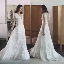 Romantic Lace Boho Beach Wedding Dresses Cap Sleeve Bohemian Bridal Gowns 6-30