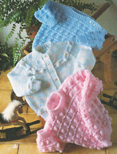 """Baby Popcorn Textured Cardigan and Sweaters 16 - 22"""" DK Knitting Pattern"""