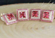 925 Sterling Silver Handmade Antique Turkish Ruby Ladies Set