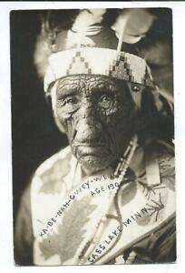Cass Lake MN Minnesota RPPC Postcard 130 Year Old Indian Ka-be-nah-gwey-wen