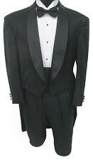 Men's Black Pierre Cardin Striped Tuxedo Tailcoat Shawl Lapels Wedding Mason 40S
