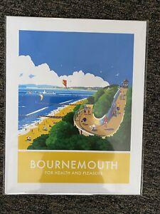 Retro Comtemporary Travel Poster Print Bournemouth 14 X 11 New
