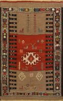 4x5 Tribal Geometric Sumak Kilim Area Rug Flat-woven Wool Oriental Foyer Carpet