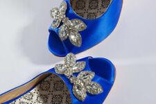 Hey Lady Blue 7.5 Satin Jeweled Peep Toe Shoes New