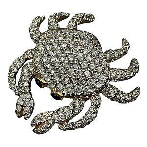 """Swarovski Crystal Gold Tone Crab Brooch Swan Logo 1.5"""" x 1.5"""""""