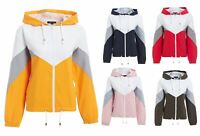 Womens Ladies Colour Block Windbreaker Contrast Festival Hooded Jacket Coat Top