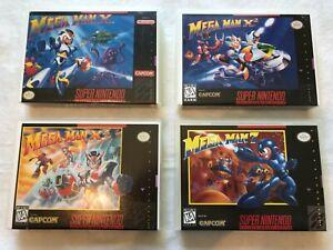 Mega Man 7, X, X2, X3 game cases with art (Super Nintendo SNES) customJ