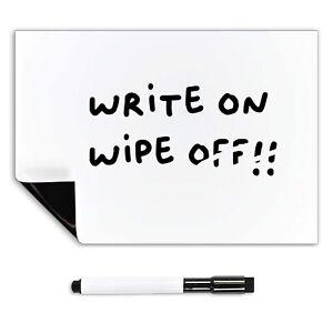 A4 Magnetic Whiteboard for Fridge + Dry Wipe Pen, Memo Board Magnet White Board