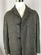 Harris Tweed Handwoven Scottish Wool Long Winter Overcoat Coat Jacket Large FLAW