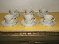 THUN PORCELAIN DINNERWARE GOLD FLORAL LEAF PTRN #THU28 SET OF 6 CUPS & SAUCERS