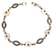MOTHER OF PEARL FLOWERS BRACELET Marcasite .925 STERLING SILVER (7.5 inch L)