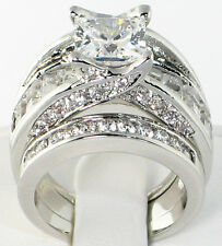 BRIDGE 5.3 CT. PRINCESS CUT Cubic Zirconia Bridal Wedding 3 PC Ring Set - SIZE 7