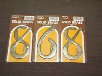 """886 688 868 3 COLE  4"""" HIGH NAIL ON SOLID BRASS HOUSE NUMBERS NEW"""