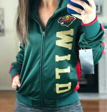 Minnesota Wild Performance Full Zip Gold Metallic Print Track Jacket Women S NHL