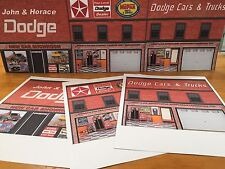 Papercraft 1974-1977 Dodge Dealer Background Scenery Featuring Dodge Van Ads