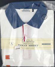 Nautical Leisurewear Original Polo Shirt White Navy Color Short Sleeve