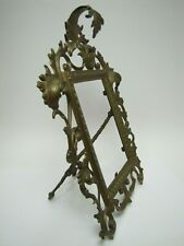 Antique 1890s Art Nouveau Decorative Arts Brass Frame Scrollwork Flowers Easel