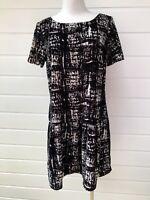 OJAY Black & White Velour Velvet Drop Waist Super Soft Luxe Party Dress - 12