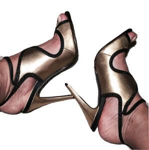 No.1 Jenny Packham Gold And Black Stilettos Party High Heels Sandals / Size 5 38