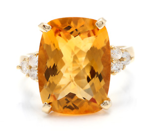 9.35 Carats NATURAL CITRINE and DIAMOND 14K Solid Yellow Gold Ring