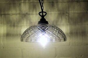 A Vintage & Unusual Glass Cut Coolie Ceiling Light Pendant Antique Style