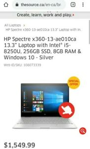HP Spectre x360 Convertible Laptop i5-8250U  BRAND NEW warranty touchpen case