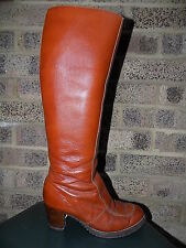 Vintage tan leather knee boots fleece lined stead & simpson 60s 70s MOD Scooter