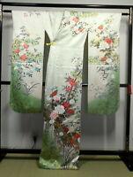"Japanese kimono SILK""FURISODE"" long sleeves, Gold/Silver, Plants, L 64""..M..1404"