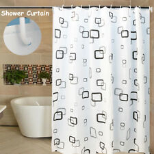 Modern Bathroom Shower Curtain Extra Black Square 180 x 200 cm With Hooks Usa