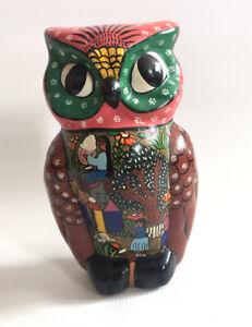 "Mexican Folk Art Story Owl Pottery Ceramic Sculpture 9"""