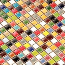 Iridescent Tile Kitchen Backsplash Ceramic Mosaic Porcelain Rainbow Color (11PCS