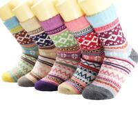 1Pair Women Ladies Girls Thick Winter Socks Warm Wool Ethnic Style Socks