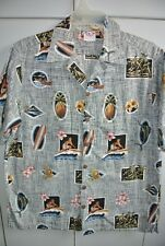 Go Barefoot  Mens Medium   Classic Pics of Fish Surfers Flowers over Thatch/Mint