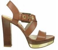 Women's Shoes Michael Kors CALDER PLATFORM Crossing Strap Dress Sandals Luggage