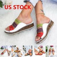 Ladies Womens Wedg Heel Slip On Summer Mules Sandals Platform Shoes Size 4.5-11