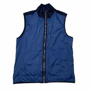 Perry Ellis Color Block Full Zip Mock Neck Nylon Vest Jacket Blue Mens XL