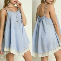 Umgee Seersucker Lace Tunic Style Dress Size Med