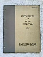 1937 Bausch & Lomb Crime Detection Instruments Catalog Forensics CSI